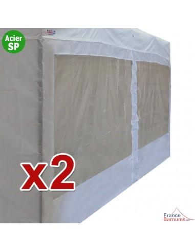 Pack de 2 parois de 6m blanche avec fenêtres en 320g pour barnum pliant Acier Semi-Pro