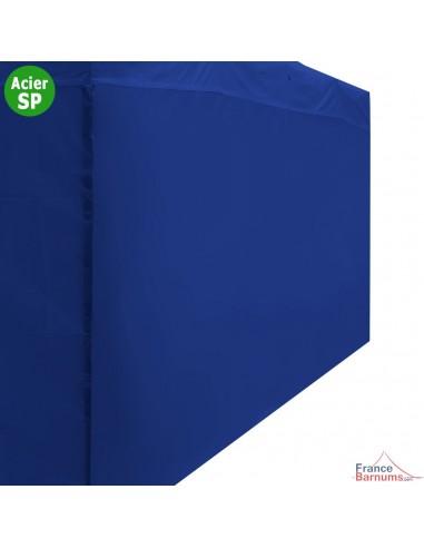 Paroi mur plein 6m bleu en 320g pour barnum pliant Acier semi-Pro