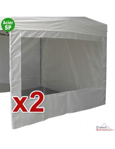 Pack 2 parois de 3m Fenêtre en 320gr/m² pour barnum Acier Semi Pro