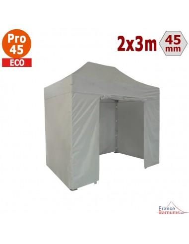 Barnum pliant - Tente pliante Alu Pro 45 ECO 2mx3m BLANC avec Pack 4 Côtés
