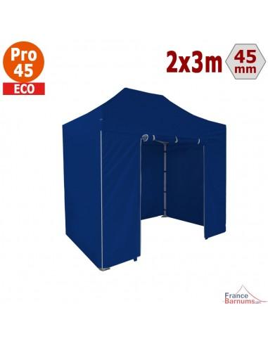 Barnum pliant - Tente pliante Alu Pro 45 ECO 2mx3m BLEU avec Pack 4 Côtés