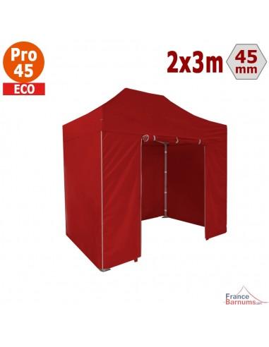 Barnum pliant - Tente pliante Alu Pro 45 ECO 2mx3m ROUGE avec Pack 4 Côtés