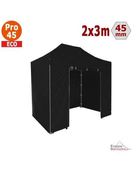 Barnum pliant - Tente pliante Alu Pro 45 ECO 2mx3m NOIR avec Pack 4 Côtés