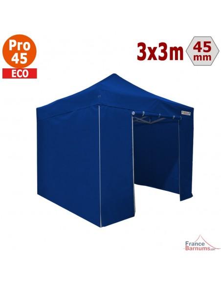 Barnum pliant - Tente pliante Alu Pro 45 ECO 3mx3m BLEU avec Pack 4 Côtés