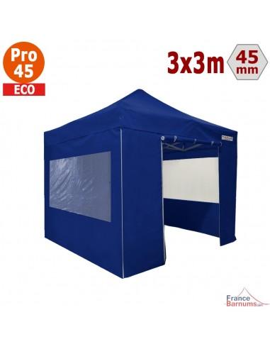 Barnum pliant - Tente pliante Alu Pro 45 ECO 3mx3m BLEU avec Pack Fenêtres