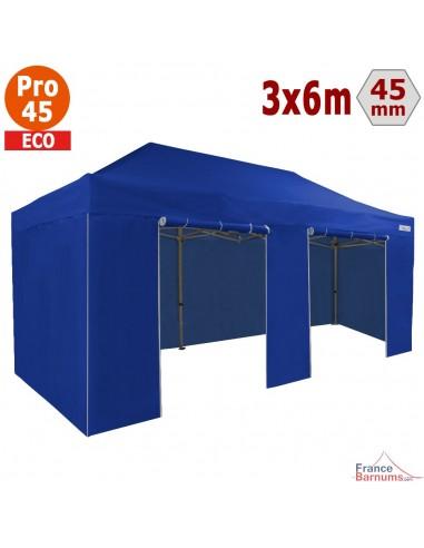 Barnum pliant - Tente pliante Alu Pro 45 ECO 3mx6m BLEU avec Pack 4 Côtés