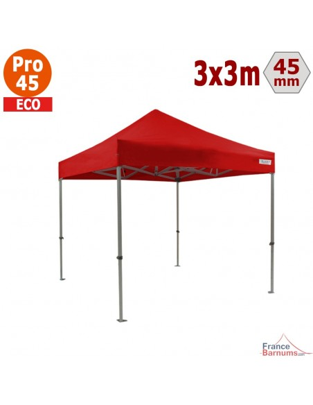 Barnum pliant - Tente pliante Alu Pro 45 ECO 3mx3m ROUGE
