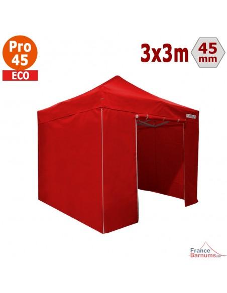 Barnum pliant - Tente pliante Alu Pro 45 ECO 3mx3m ROUGE avec Pack 4 Côtés
