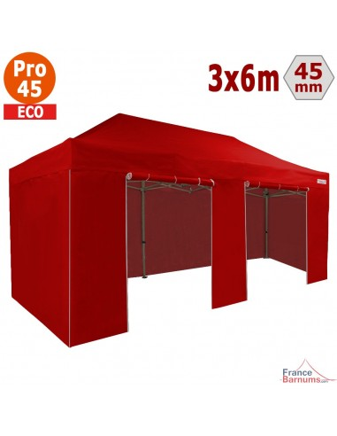 Barnum pliant - Tente pliante Alu Pro 45 ECO 3mx6m ROUGE avec Pack 4 Côtés