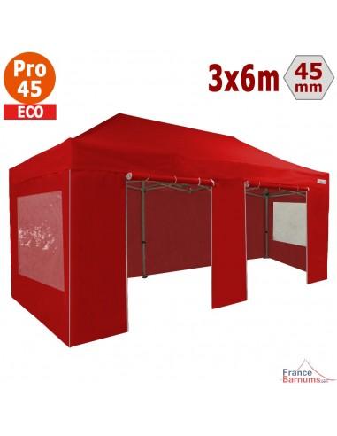 Barnum pliant - Tente pliante Alu Pro 45 ECO 3mx6m ROUGE avec Pack Fenêtres