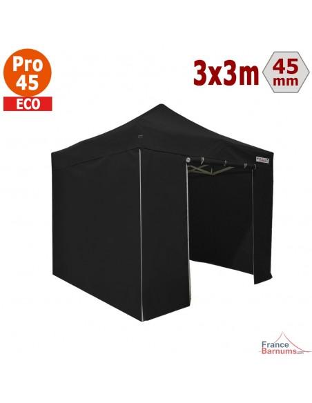 Barnum pliant - Tente pliante Alu Pro 45 ECO 3mx3m NOIR avec Pack 4 Côtés