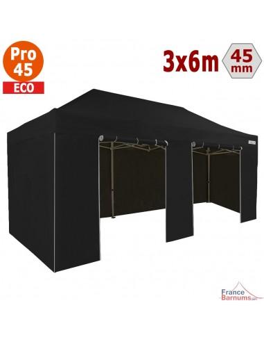 Barnum pliant - Tente pliante Alu Pro 45 ECO 3mx6m NOIR avec Pack 4 Côtés