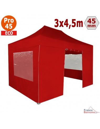 Barnum pliant - Tente pliante Alu Pro 45 ECO 3mx4,5m ROUGE avec Pack Fenêtres