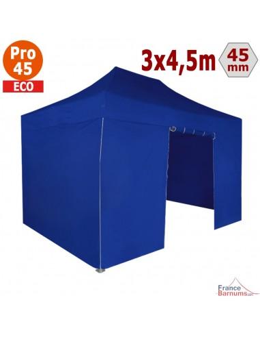 Barnum pliant - Tente pliante Alu Pro 45 ECO 3mx4,5m BLEU avec Pack 4 Côtés