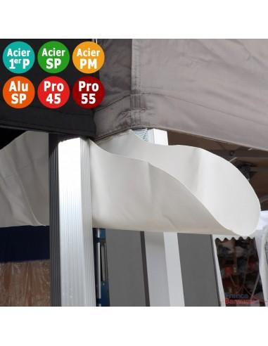Gouttière en PVC 580gr/m² de 4m pour tente pliante à fixer par bandes de velcro sur les bandeaux de la bâche de toit