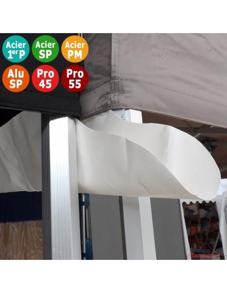 Gouttière en PVC 580gr/m² de 6m pour tente pliante à fixer par bandes de velcro sur les bandeaux de la bâche de toit