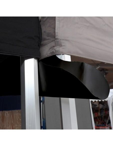 Gouttière NOIRE en PVC 580gr/m² de 6m pour tente pliante à fixer par bandes de velcro sur les bandeaux de la bâche de toit