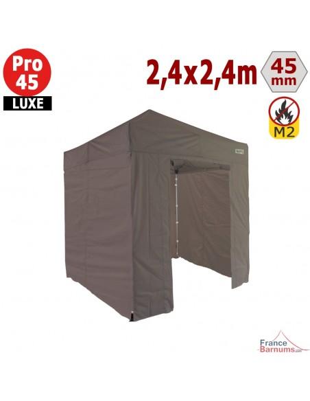 Barnum pliant - Stand pliant Alu Pro 45 LUXE M2 2,4mx2,4m TAUPE + Pack Côtés 380gr/m²