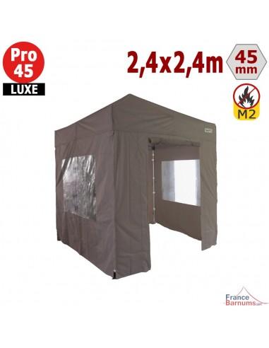 Barnum pliant - Stand pliant Alu Pro 45 LUXE M2 2,4mx2,4m TAUPE + Pack Fenêtres 380gr/m²