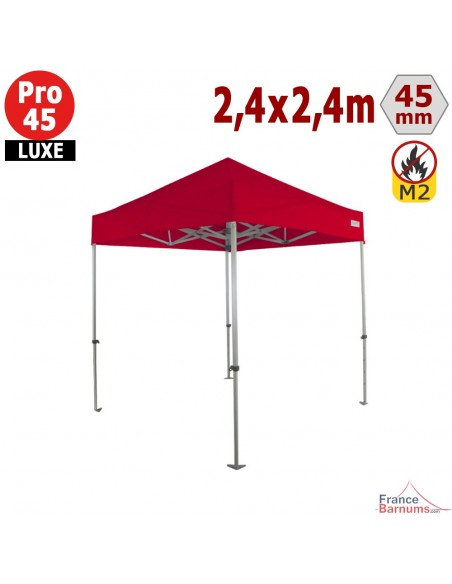 Barnum pliant - Stand pliant Alu Pro 45 LUXE M2 2,4mx2,4m ROUGE 380gr/m²