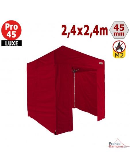 Barnum pliant - Stand pliant Alu Pro 45 LUXE M2 2,4mx2,4m ROUGE + Pack Côtés 380gr/m²