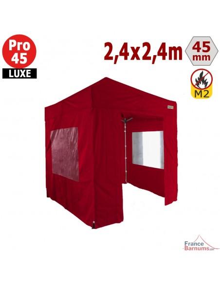 Barnum pliant - Stand pliant Alu Pro 45 LUXE M2 2,4mx2,4m ROUGE + Pack Fenêtres 380gr/m²
