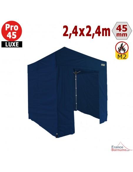 Barnum pliant - Stand pliant Alu Pro 45 LUXE M2 2,4mx2,4m BLEU + Pack Côtés 380gr/m²