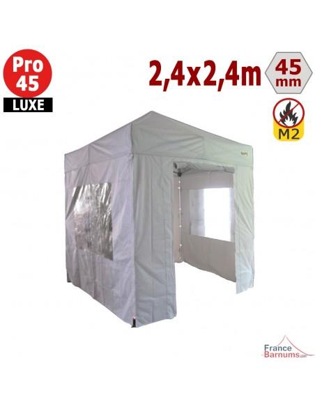 Barnum pliant - Stand pliant Alu Pro 45 LUXE M2 2,4mx2,4m BLANC + Pack Fenêtres 380gr/m²