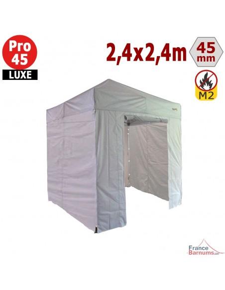 Barnum pliant - Stand pliant Alu Pro 45 LUXE M2 2,4mx2,4m BLANC + Pack Côtés 380gr/m²