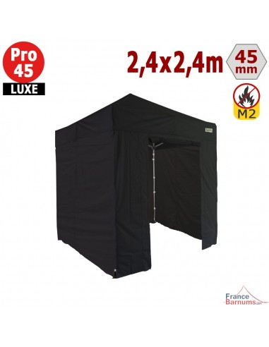 Barnum pliant - Stand pliant Alu Pro 45 LUXE M2 2,4mx2,4m NOIR + Pack Côtés 380gr/m²