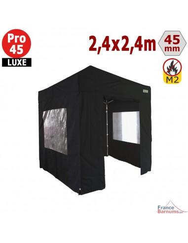 Barnum pliant - Stand pliant Alu Pro 45 LUXE M2 2,4mx2,4m NOIR + Pack Fenêtres 380gr/m²