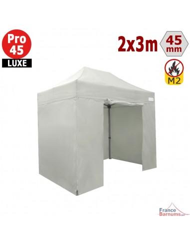 Barnum pliant - Stand pliant Alu Pro 45 LUXE M2 2mx3m BLANC + Pack Côtés 380gr/m²