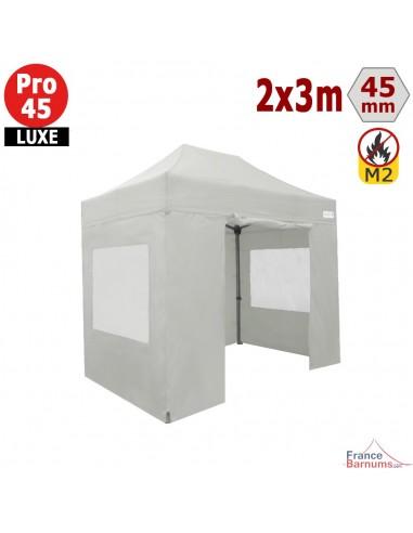 Barnum pliant - Stand pliant Alu Pro 45 LUXE M2 2mx3m BLANC + Pack Fenêtres 380gr/m²