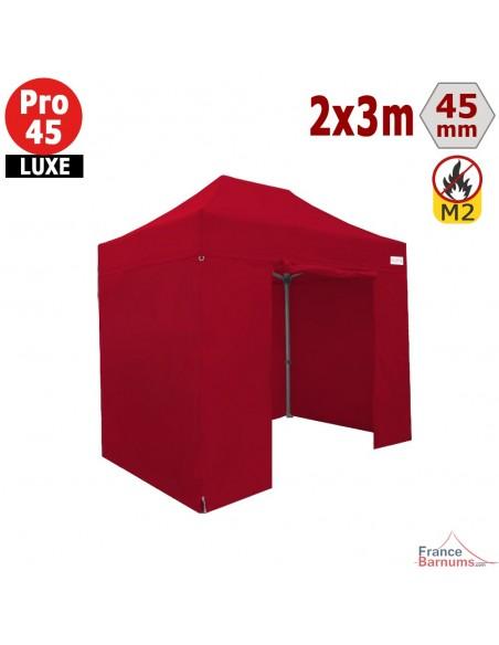 Barnum pliant - Stand pliant Alu Pro 45 LUXE M2 2mx3m ROUGE + Pack Côtés 380gr/m²