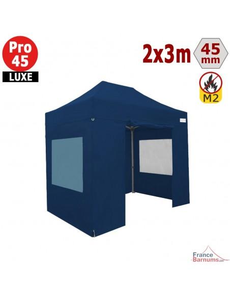 Barnum pliant - Stand pliant Alu Pro 45 LUXE M2 2mx3m BLEU + Pack Fenêtres 380gr/m²