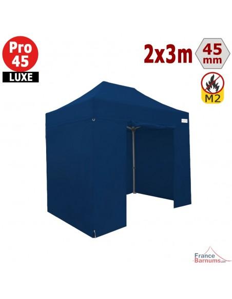 Barnum pliant - Stand pliant Alu Pro 45 LUXE M2 2mx3m BLEU + Pack Côtés 380gr/m²