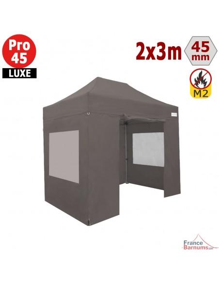 Barnum pliant - Stand pliant Alu Pro 45 LUXE M2 2mx3m TAUPE + Pack Fenêtres 380gr/m²