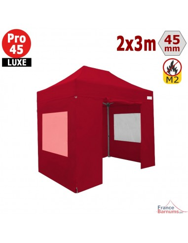 Barnum pliant - Stand pliant Alu Pro 45 LUXE M2 2mx3m ROUGE + Pack Fenêtres 380gr/m²