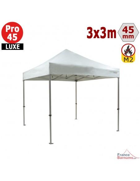 Barnum pliant - Stand pliant Alu Pro 45 LUXE M2 3mx3m BLANC 380gr/m²