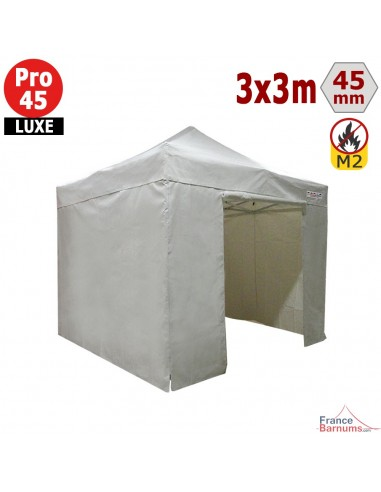 Barnum pliant - Stand pliant Alu Pro 45 LUXE M2 3mx3m BLANC + Pack Côtés 380gr/m²