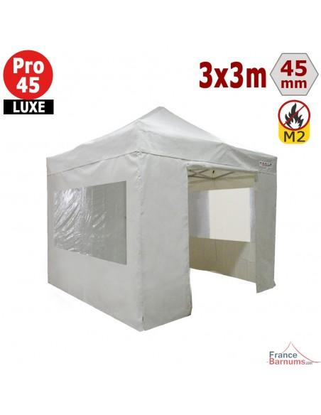 Barnum pliant - Stand pliant Alu Pro 45 LUXE M2 3mx3m BLANC + Pack Fenêtres 380gr/m²