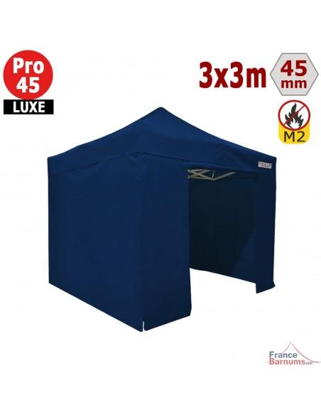 Barnum pliant - Stand pliant Alu Pro 45 LUXE M2 3mx3m BLEU + Pack Côtés 380gr/m²