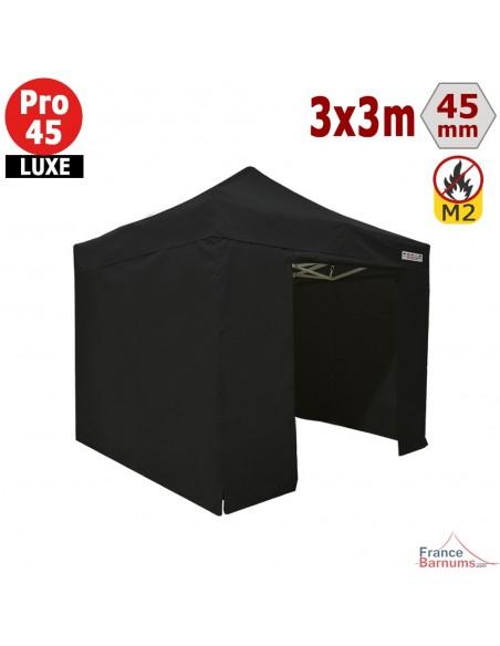 Barnum pliant - Stand pliant Alu Pro 45 LUXE M2 3mx3m NOIR + Pack Côtés 380gr/m²