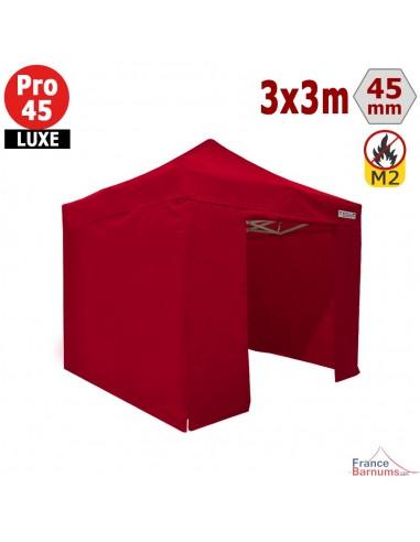 Barnum pliant - Stand pliant Alu Pro 45 LUXE M2 3mx3m ROUGE + Pack Côtés 380gr/m²