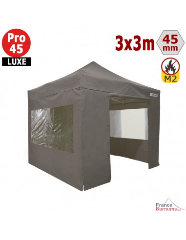Barnum pliant - Stand pliant Alu Pro 45 LUXE M2 3mx3m TAUPE + Pack Fenêtres 380gr/m²