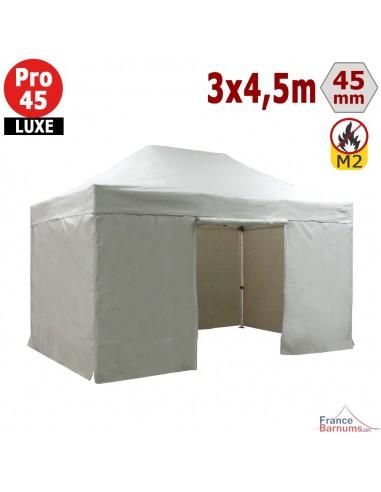 Barnum pliant - Stand pliant Alu Pro 45 LUXE M2 3mx4,5m BLANC + Pack Côtés 380gr/m²