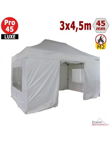 Barnum pliant - Stand pliant Alu Pro 45 LUXE M2 3mx4,5m BLANC + Pack Fenêtres 380gr/m²