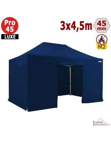 Barnum pliant - Stand pliant Alu Pro 45 LUXE M2 3mx4,5m BLEU + Pack Côtés 380gr/m²