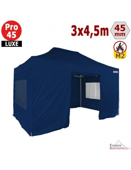 Barnum pliant - Stand pliant Alu Pro 45 LUXE M2 3mx4,5m BLEU + Pack Fenêtres 380gr/m²