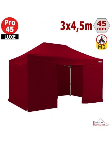 Barnum pliant - Stand pliant Alu Pro 45 LUXE M2 3mx4,5m ROUGE + Pack Côtés 380gr/m²